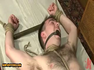 Strong gay men use metal leish and handcuffs in bondage extreme fucking romp