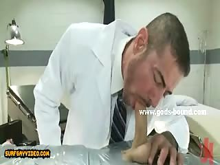 Strong big gay man gets slapped and spanked before getting part in a bondage sex scene