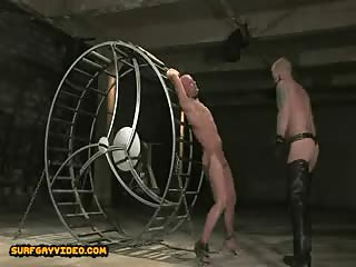 Shaved head gay hunk taken to abandoned place and abused in bondage extreme sex