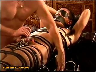 CBT Electro on restrained young muscle stud with 2 cum shots