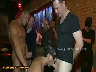 Sexy gay model bound tight and gifted to gang of horny men that fuck him in group sex