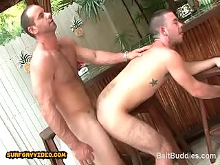 Str8 hairy hot dude with 9in cock fucks cute hairy ass dude.