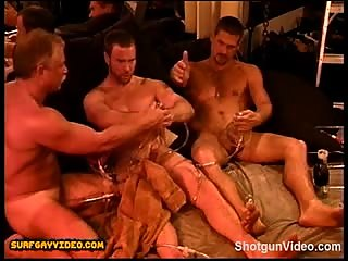 CBT sadistic vacuum pump party with very muscular dad and his two very hot and muscular boys.