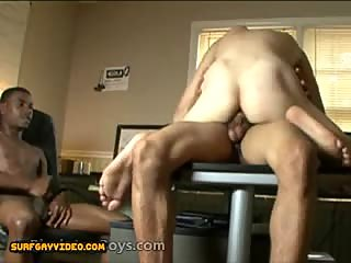Interracial gay anal threesome for a white dude