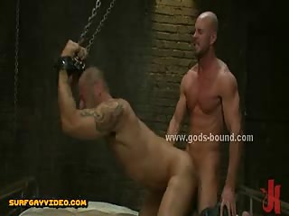 Shaved gay strong sex slave bound hard and immobilized in bondage fetish ass fucking