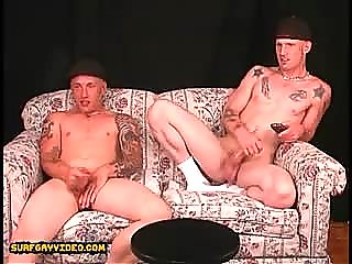 2 str8 buff slacker buddies with big cocks jack off together side by side.