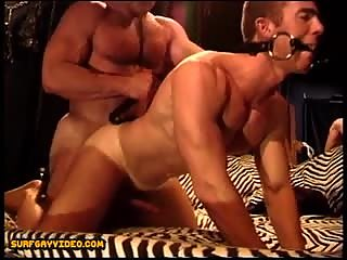 Big muscle daddy fucks hot young gagged smooth musclular dude.