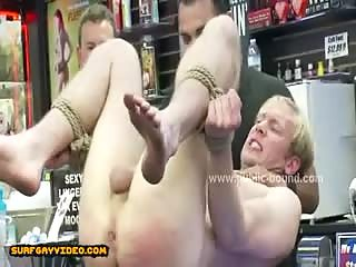 Sexy man taken by force by gay sado maso group of men and fucked in extreme spanking sex