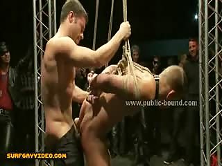 Sex slaves get spanking before getting busted in extreme bondage group sex