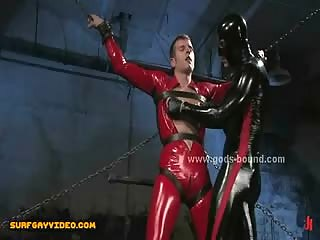 Dirty and wild leather dressed gay master and sex slave in rough bondage sex video