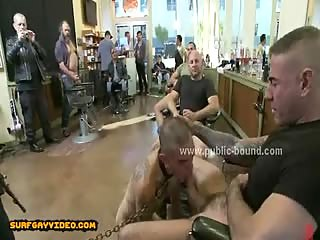 Teen gay cute sex slave humiliated in extreme gay gang bang sex