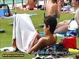 Boy gets an accidental boner by a pool